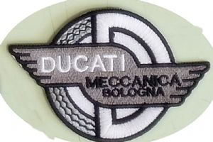 Ducati Meccannica Bologna (black & white version) sew-on embroidered patch (yy)